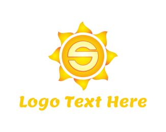 Tan - Sun Letter S logo design