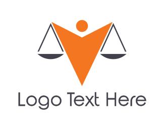 Judge - Orange Scale Person logo design