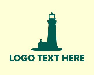 Island - Green Lighthouse logo design
