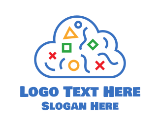 Primitive - Blue Shapes Cloud logo design