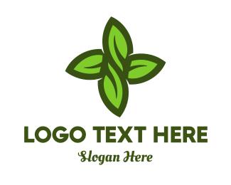 Grass - Green Leaves Cross logo design