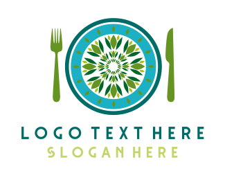 Eating - Green Restaurant logo design