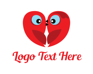 Fun - Little Red Love Birds logo design