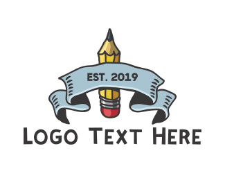School - Draw Emblem logo design
