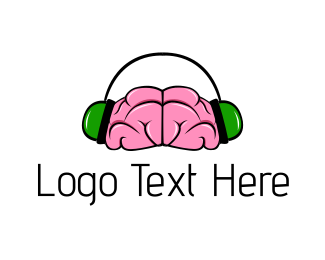 Smart - Brain & Headphones logo design