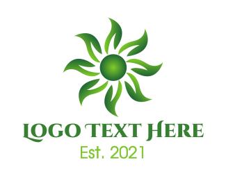 Decorative - Green Sun Flower logo design