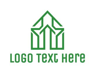 Rent - Green House Outline logo design