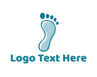 Foot - Blue Footprint logo design