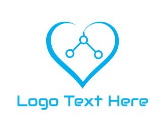 Valentine - Heart Circuit logo design