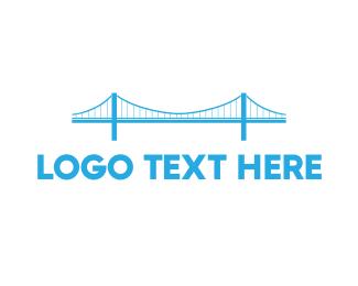 Infrastructure - Blue Anchored Bridge  logo design