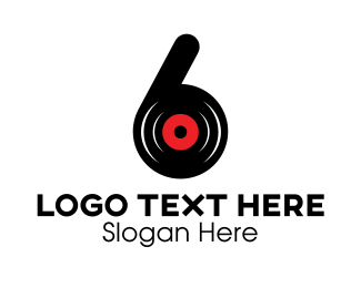 Number 6 - Black Vinyl Six logo design