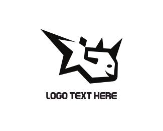 Rhino - Blach Fish logo design