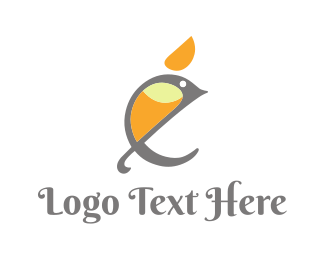 Birdie - Parrot Letter E logo design