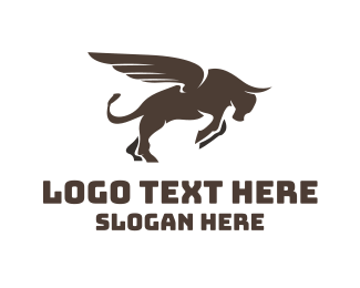 Meat - Winged Charging Bull logo design