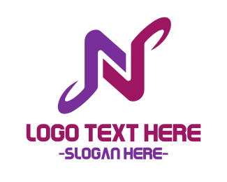 Drone - Purple Letter N logo design