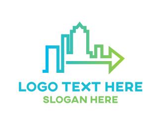 Land Developer - Arrow City Skyline logo design