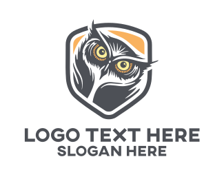 Feather - Owl Head logo design