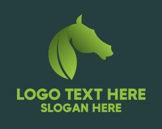 Equine - Leaf & Horse logo design