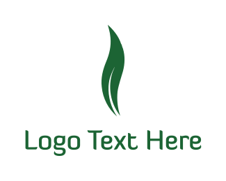 Herbal - Green Leaf Flame, logo design