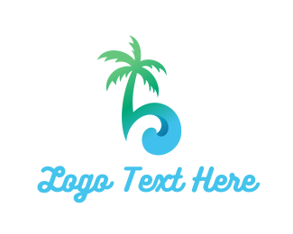 Island - Palm & Waves logo design