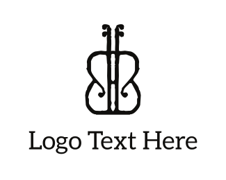Guitar - Black Violon logo design