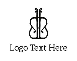 Instrument - Black Violon logo design