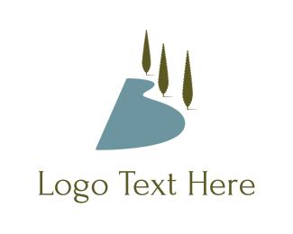 Lake - Cliff & Trees logo design