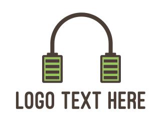 Charger - Battery Headphones logo design
