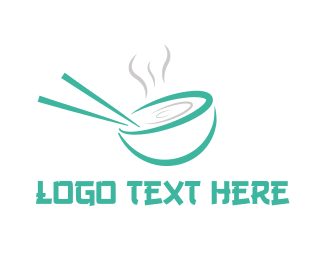Oriental - Green Chopstick Soup logo design