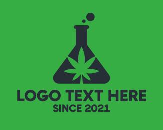 Flask - Green Flask Cannabis logo design