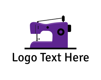 Sew - Purple Sewing Machine logo design