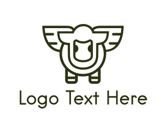 Cattle - Flying Lamb logo design
