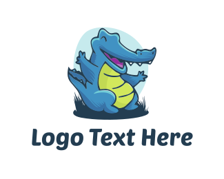 Happiness - Blue Alligator logo design