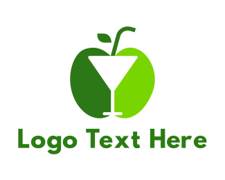 Flavor - Green Apple Cocktail logo design
