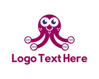 Squid - Ellipsis Octopus logo design