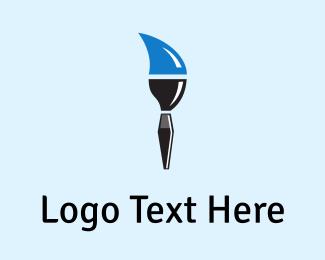 Canvas - Blue Paintbrush logo design