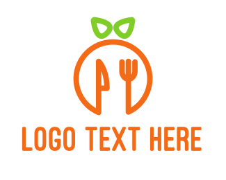 Eating - Orange Cutlery logo design