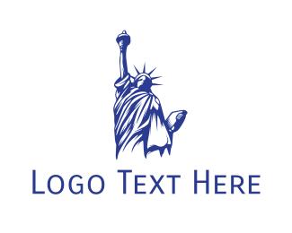 Ny - Blue Status of Liberty logo design