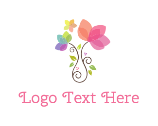 Pink - Girly Flower Pot logo design