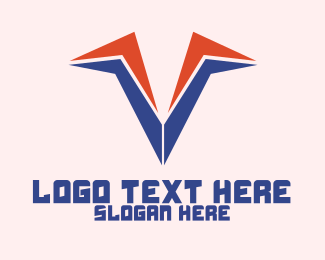 Aeronautics - Abstract Sharp V logo design