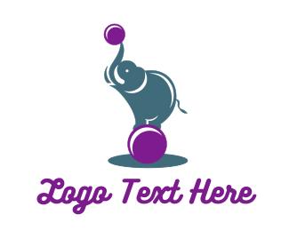 Tusk - Acrobat Elephant logo design