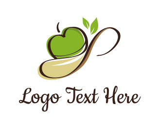 Nutrition - Apple Spoon logo design