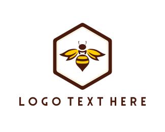 Hexagonal - Bee & Honeycomb logo design