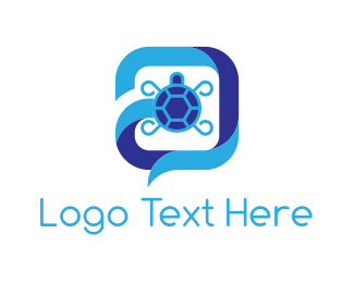 Chat - Turtle Chat logo design