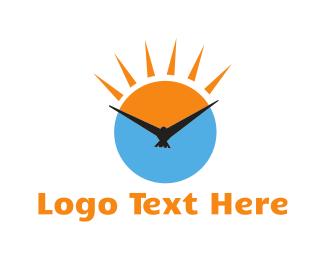 Raven - Bird Clock logo design