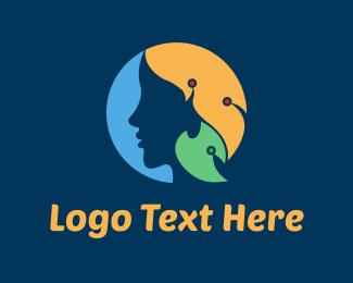 Jewelery - Woman & Leaves logo design