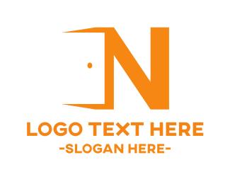 Open - Door Letter N logo design