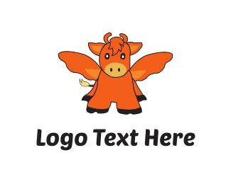 Cow - Flying Ox logo design