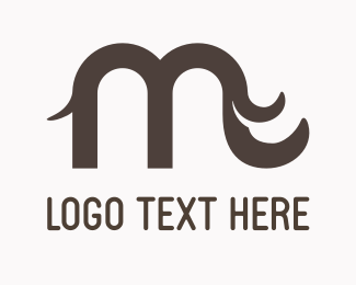 Trunk - Letter M Elephant logo design