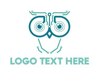 Machine - Circuits & Owl logo design